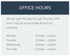 Patrick J. Soria DDS Office Hours